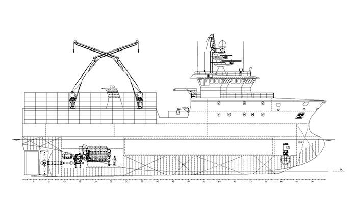 Пример краболова Skipasýn с одноплощадочной промысловой палубой под прямоугольные ловушки и сохранением улова в морозильном трюме