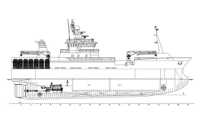 Пример краболова Skipasýn с двухплощадочной промысловой палубой под работу с конусными ловушками и сохранением улова в RSW-танках и морозильном трюме