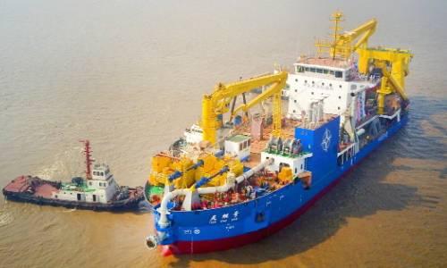 В КНР спустили наводу крупнейшее вАзии судно для создания островов